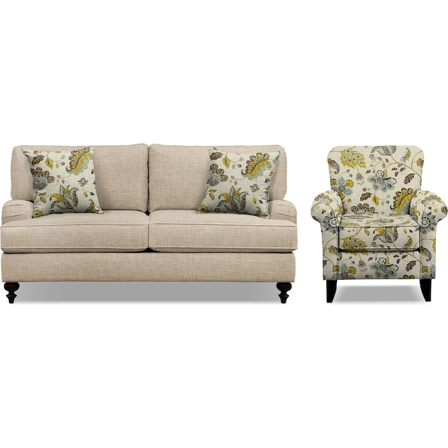 "Living Room Furniture - Avery Taupe 74"" Innerspring Sleeper Sofa and Accent Chair Set"