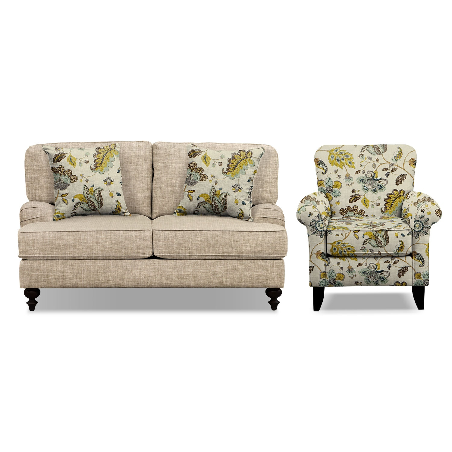 "Living Room Furniture - Avery Taupe 62"" Innerspring Sleeper Sofa and Accent Chair Set"