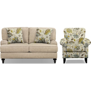"""Avery Taupe 62"""" Innerspring Sleeper Sofa and Accent Chair Set"""