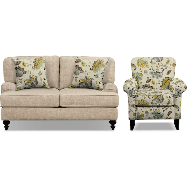 """Living Room Furniture - Avery Taupe 62"""" Memory Foam Sleeper Sofa and Accent Chair Set"""