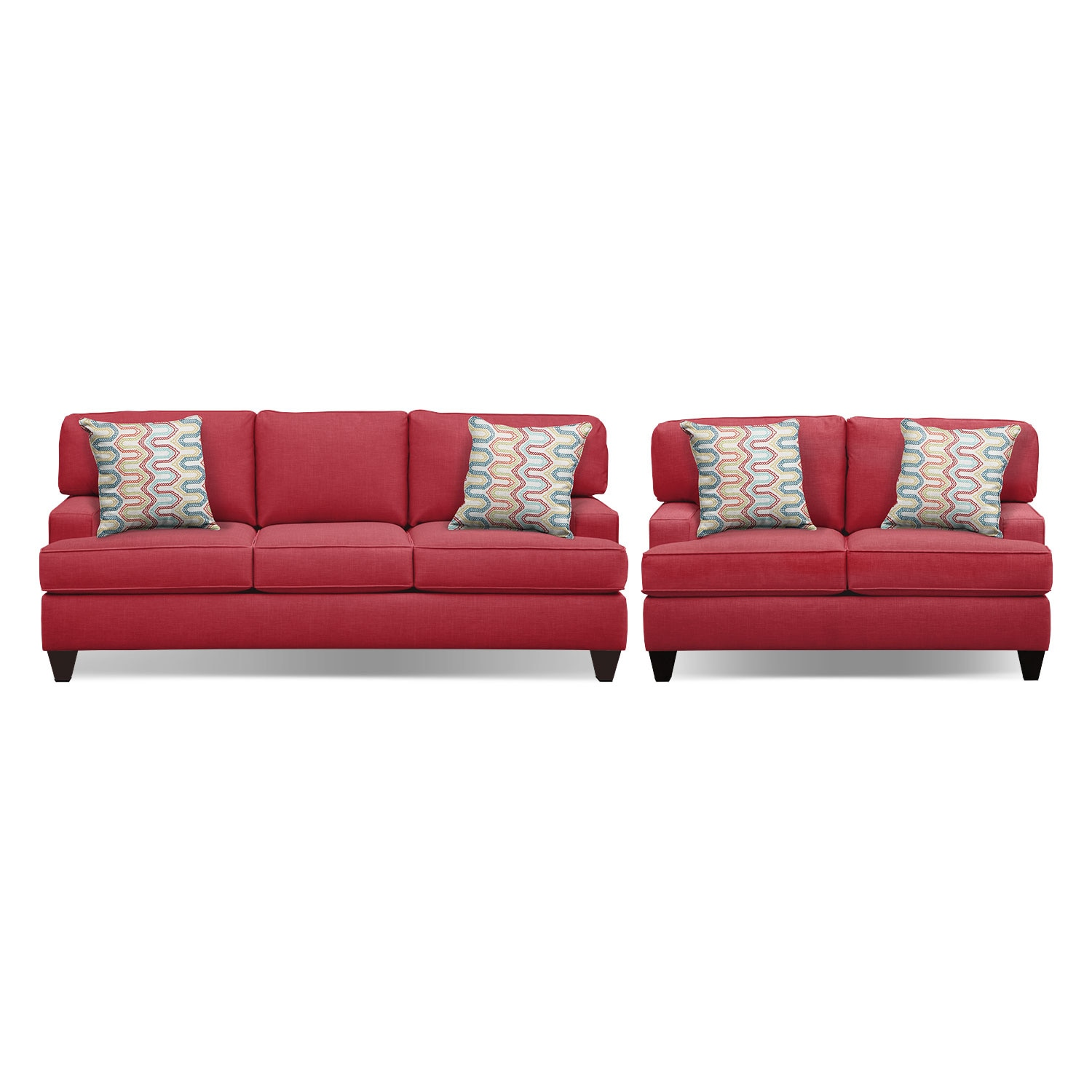 "Living Room Furniture - Conner Red 87"" Innerspring Sleeper Sofa and 63"" Sofa Set"