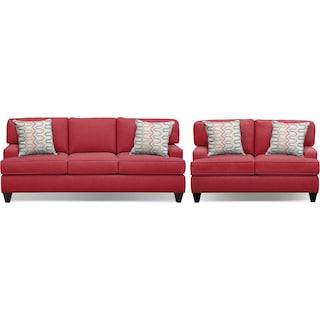 "Conner Red 87"" Memory Foam Sleeper Sofa and 63"" Sofa Set"