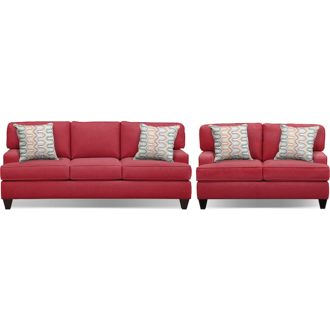 "Living Room Furniture - Conner Red 87"" Memory Foam Sleeper Sofa and 63"" Sofa Set"