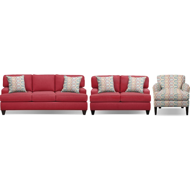 "Living Room Furniture - Conner Red 87"" Memory Foam Sleeper Sofa, 63"" Sofa and Accent Chair Set"