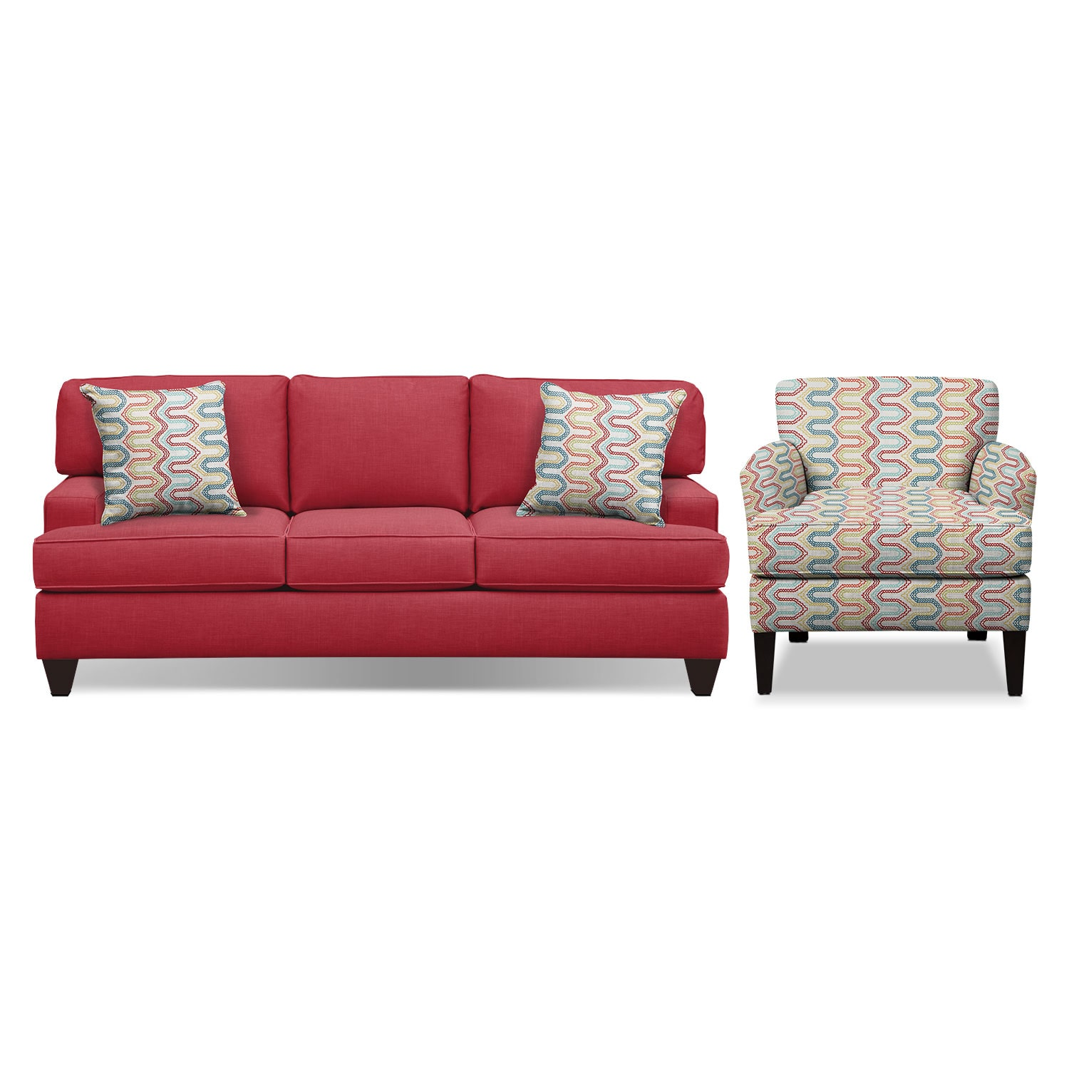 "Living Room Furniture - Conner Red 87"" Memory Foam Sleeper Sofa and Accent Chair Set"