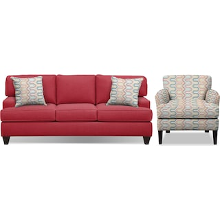 """Conner Red 87"""" Memory Foam Sleeper Sofa and Accent Chair Set"""