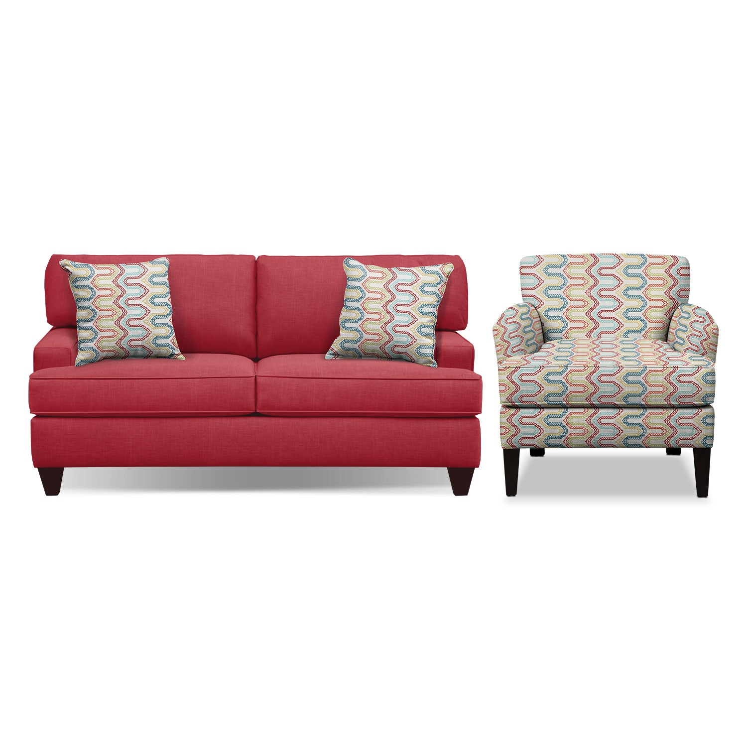 "Living Room Furniture - Conner Red 75"" Innerspring Sleeper Sofa and Accent Chair Set"