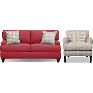 "Conner Red 75"" Memory Foam Sleeper Sofa and Accent Chair Set"