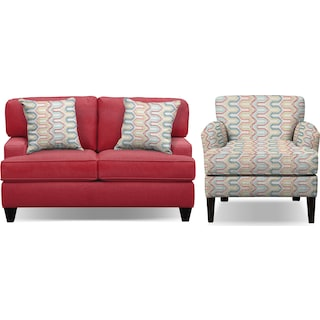 "Conner Red 63"" Sofa and Accent Chair Set"