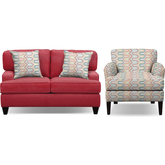 """Living Room Furniture - Conner Red 63"""" Memory Foam Sleeper Sofa and Accent Chair Set"""