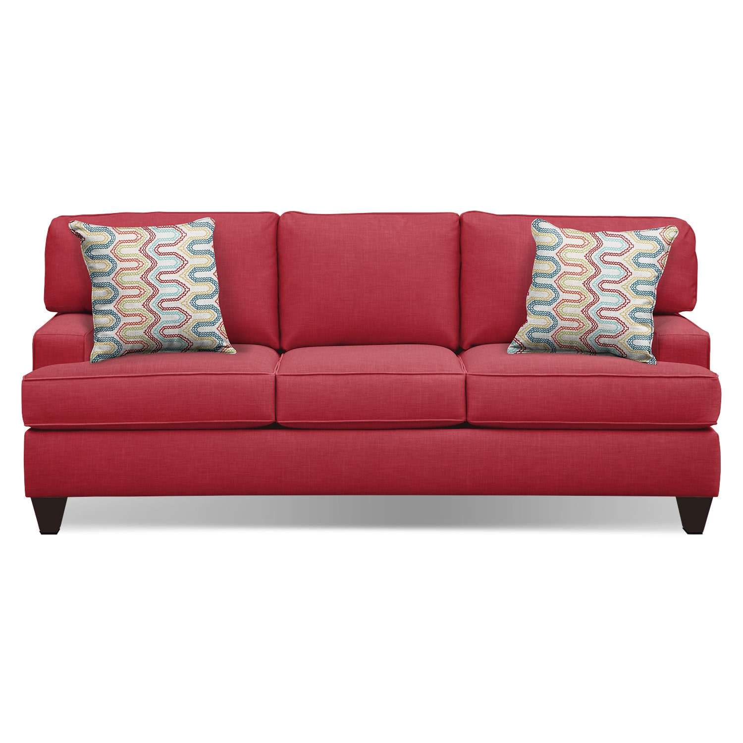 "Living Room Furniture - Conner Red 87"" Sofa"