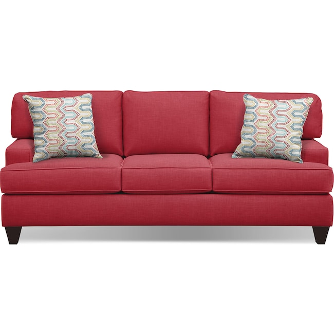 "Living Room Furniture - Conner Red 87"" Innerspring Sleeper Sofa"