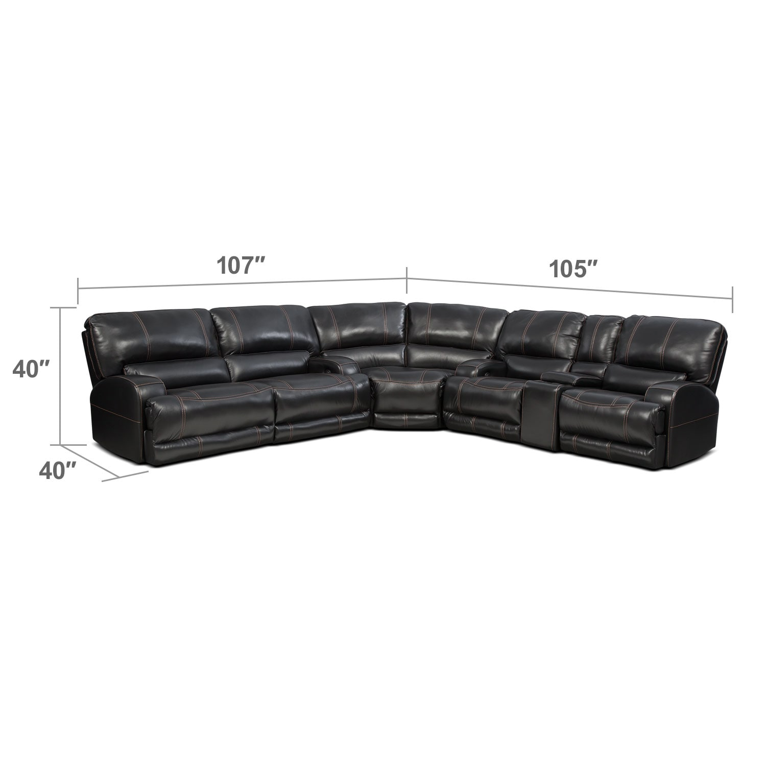 Living Room Furniture - Barton 3-Piece Power Reclining Sectional with 1 Console - Black