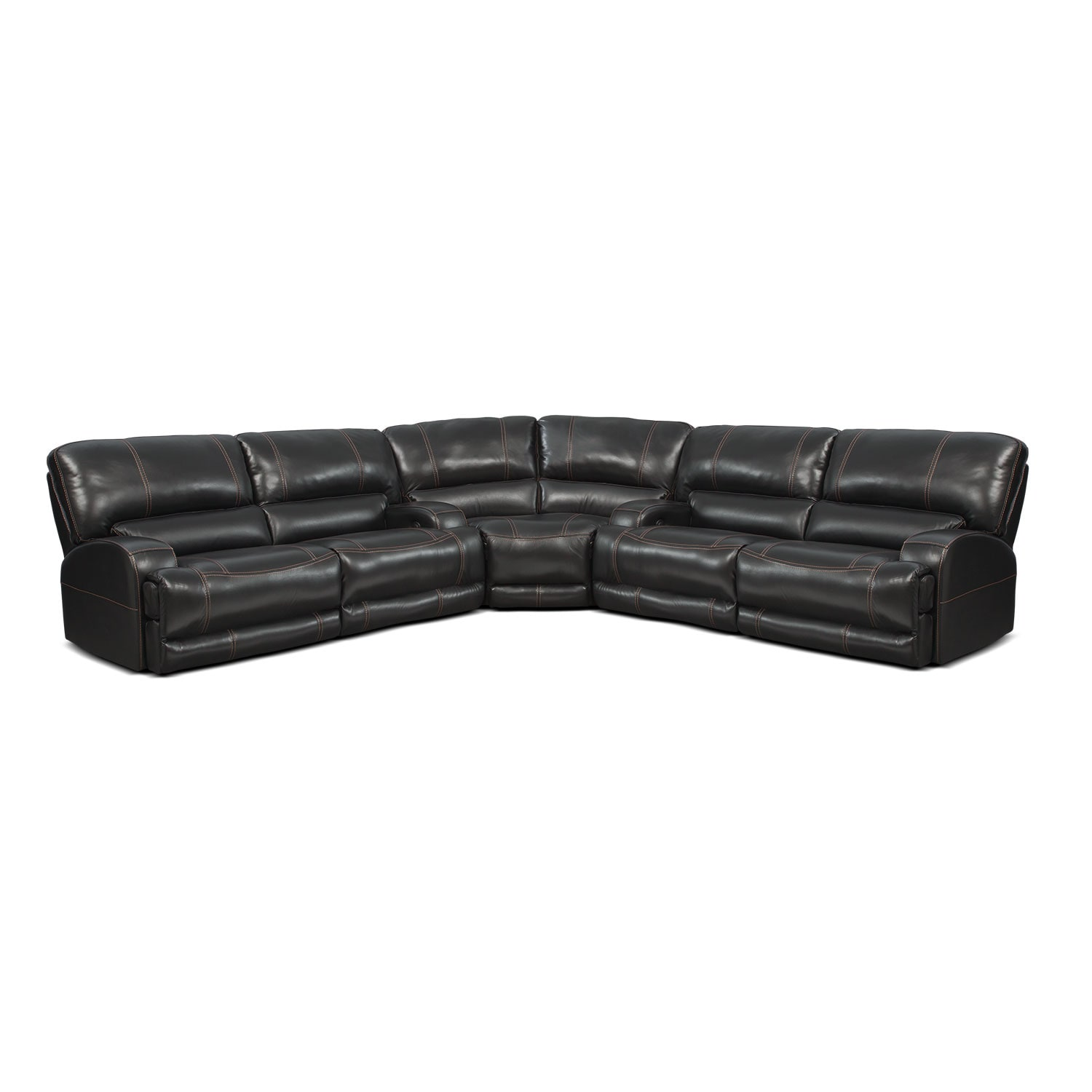 Living Room Furniture - Barton 3-Piece Power Reclining Sectional - Black