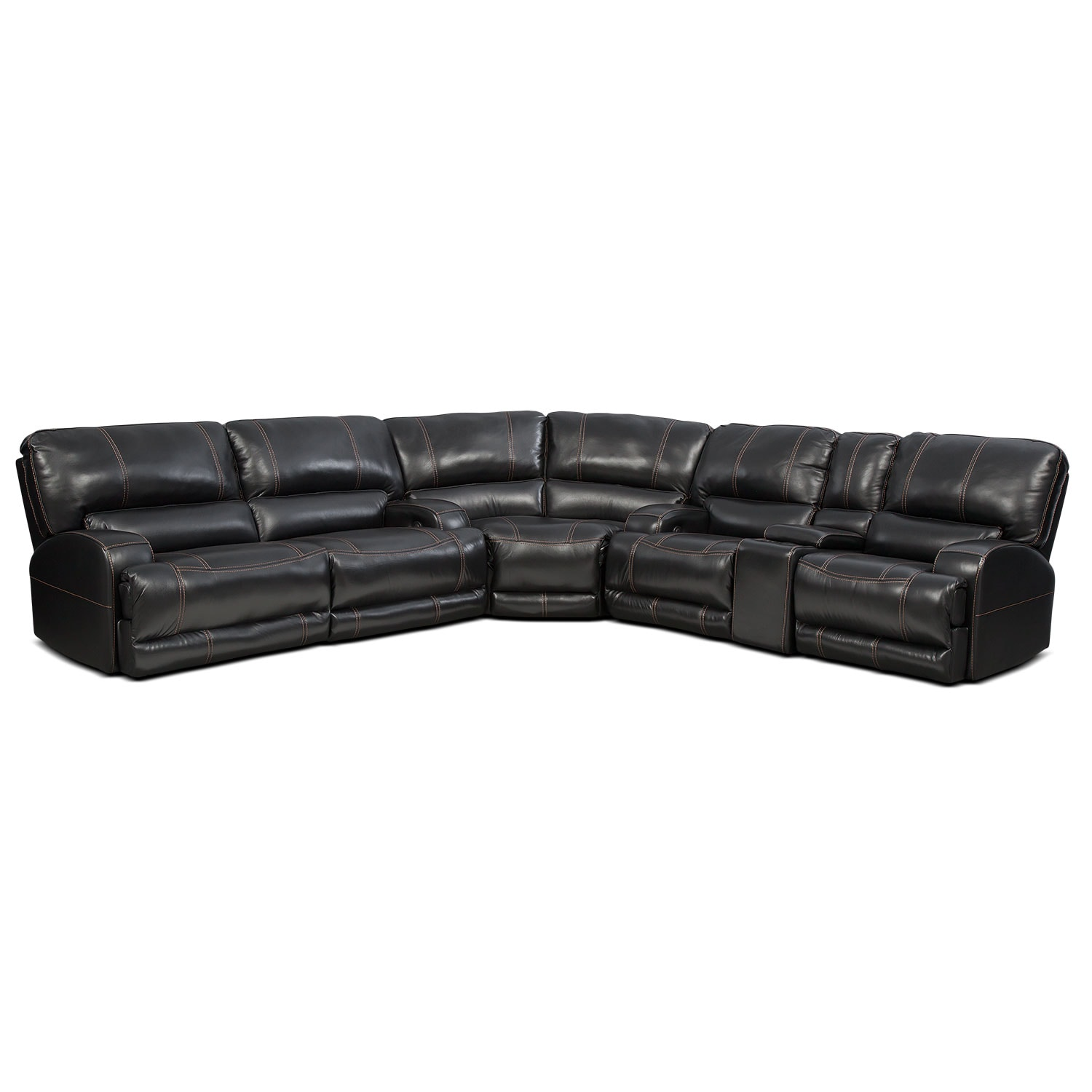 Barton 3-Piece Power Reclining Sectional with 1 Console - Black