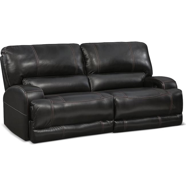 Living Room Furniture - Barton Power Power Reclining Sofa - Black