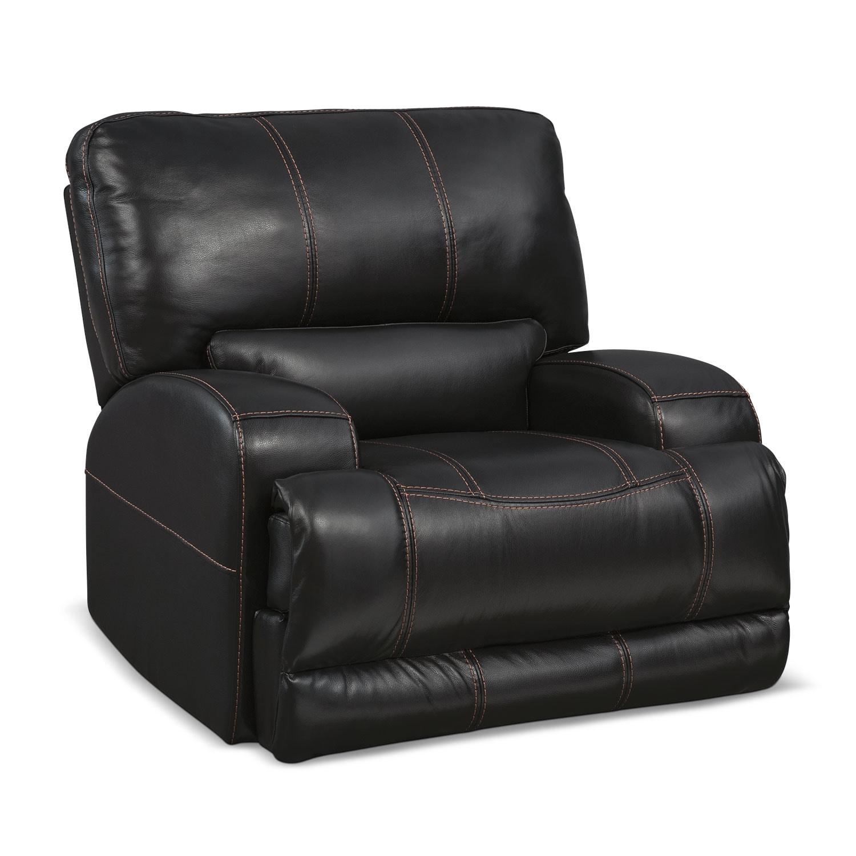 Living Room Furniture - Barton Black Power Recliner