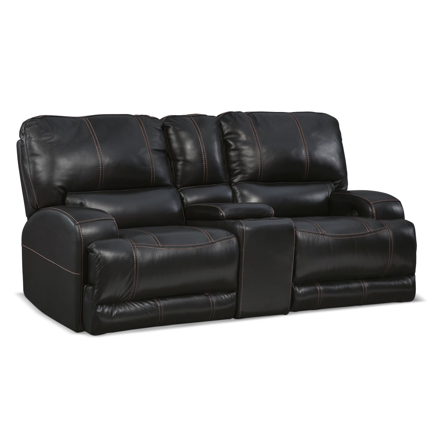 Living Room Furniture - Barton Black Power Reclining Loveseat w/ Console
