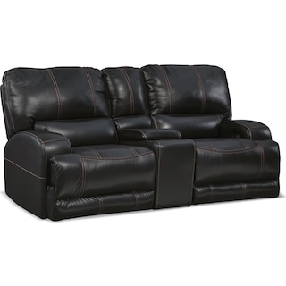 Barton Power Reclining Loveseat with Console - Black