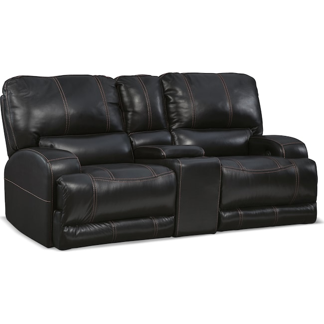 Living Room Furniture - Barton Power Reclining Loveseat with Console - Black