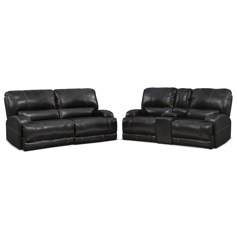 Barton Power Reclining Sofa and Reclining Loveseat Set - Black