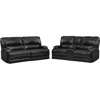 Barton Power Reclining Sofa and Reclining Loveseat Set - Black