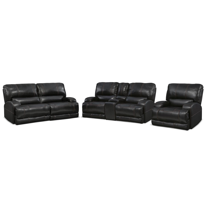 Barton Power Reclining Sofa, Reclining Loveseat and Recliner Set - Black