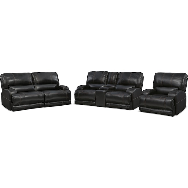 Living Room Furniture - Barton Power Reclining Sofa, Reclining Loveseat and Recliner Set - Black