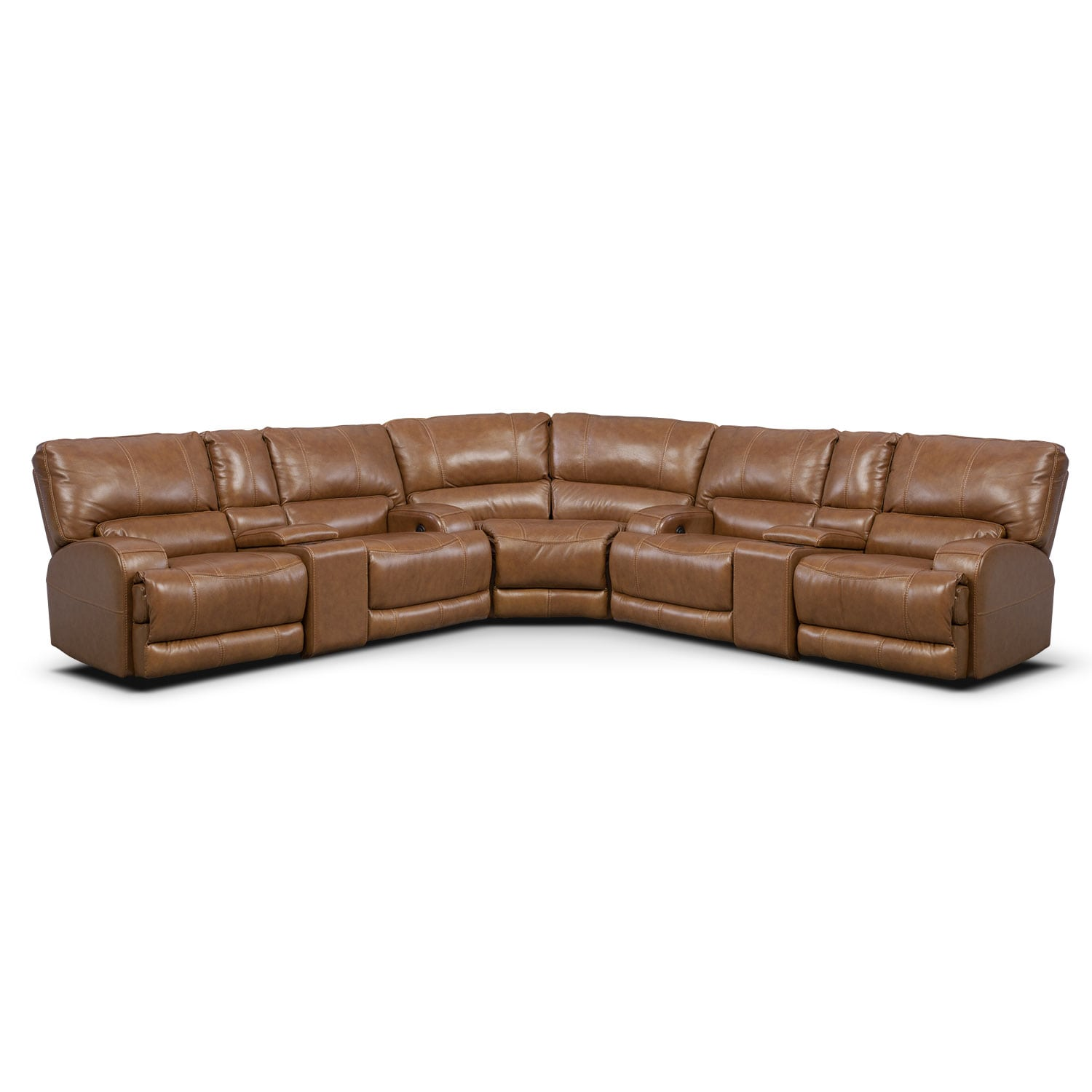 Barton 3-Piece Power Reclining Sectional with 2 Consoles - Camel