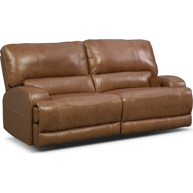 Living Room Furniture - Barton Power Reclining Sofa - Camel