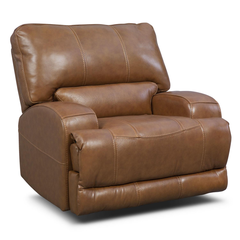 Living Room Furniture - Barton Power Recliner - Camel