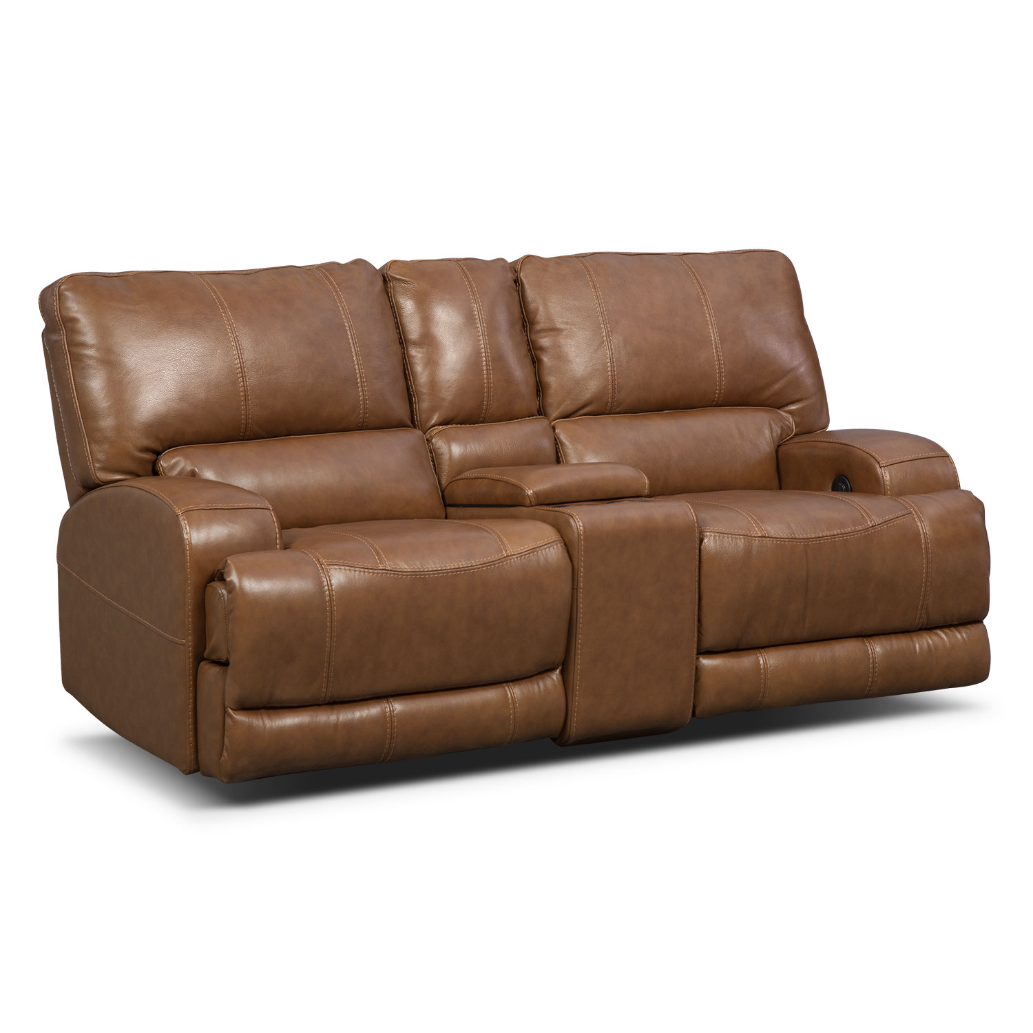 Living Room Furniture - Barton Camel Living Room Power Reclining Loveseat with Console