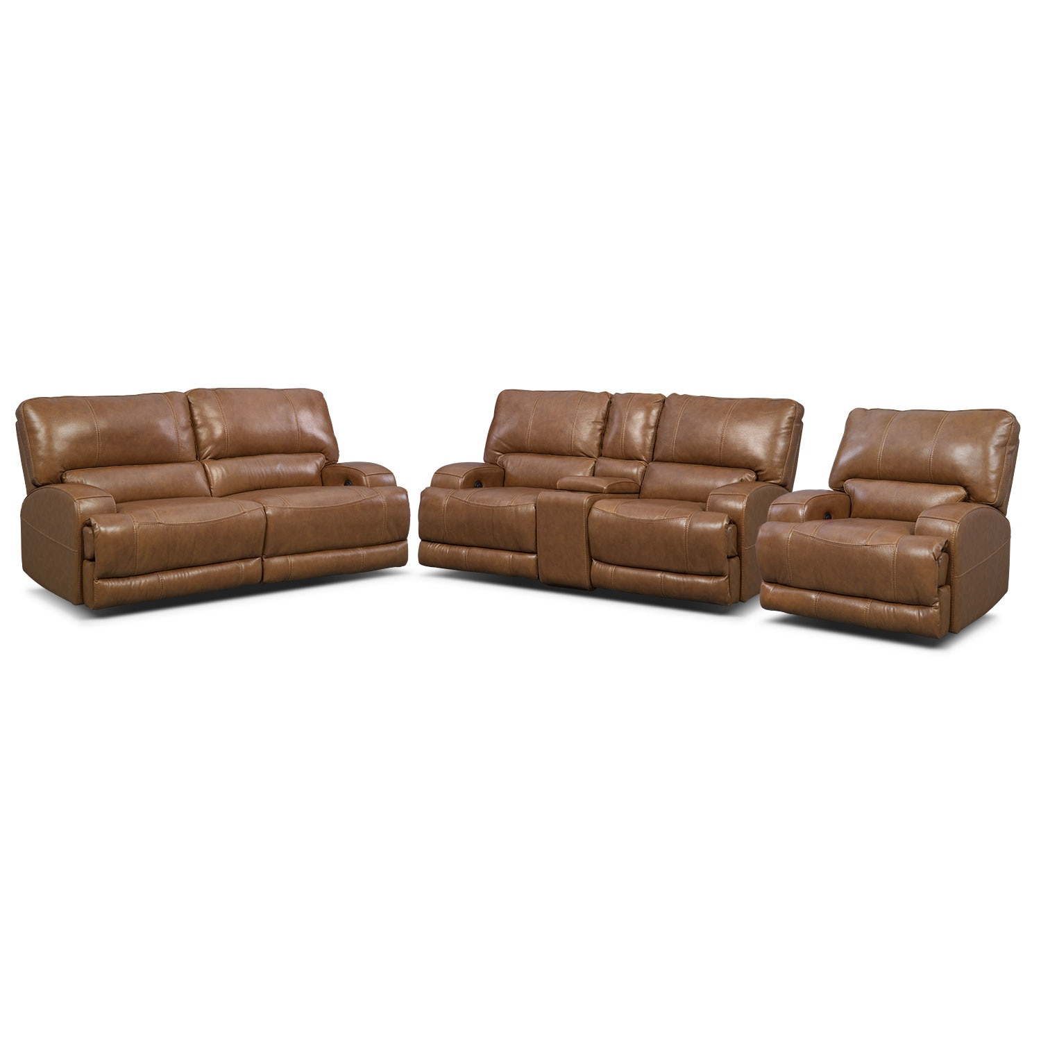 Living Room Furniture - Barton Power Reclining Sofa, Reclining Loveseat and Recliner Set - Camel