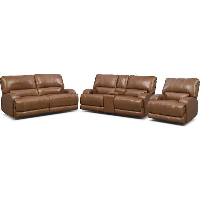 Living Room Furniture - Barton Power Reclining Sofa, Reclining Loveseat and Recliner Set - Camel