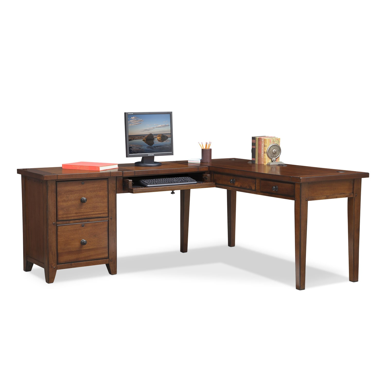 Home Office Furniture - Morgan L-Shaped Desk - Brown