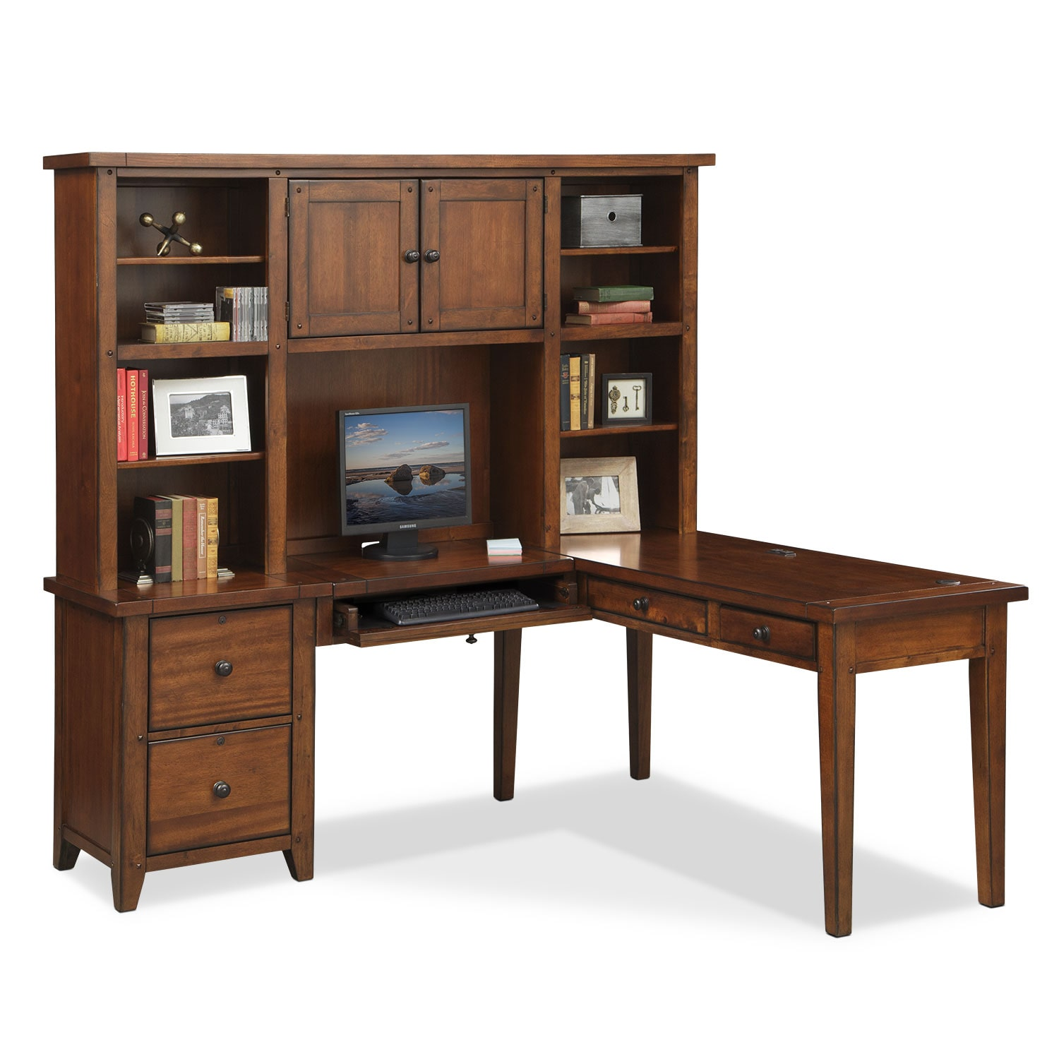 Morgan L-Shaped Desk with Hutch - Brown
