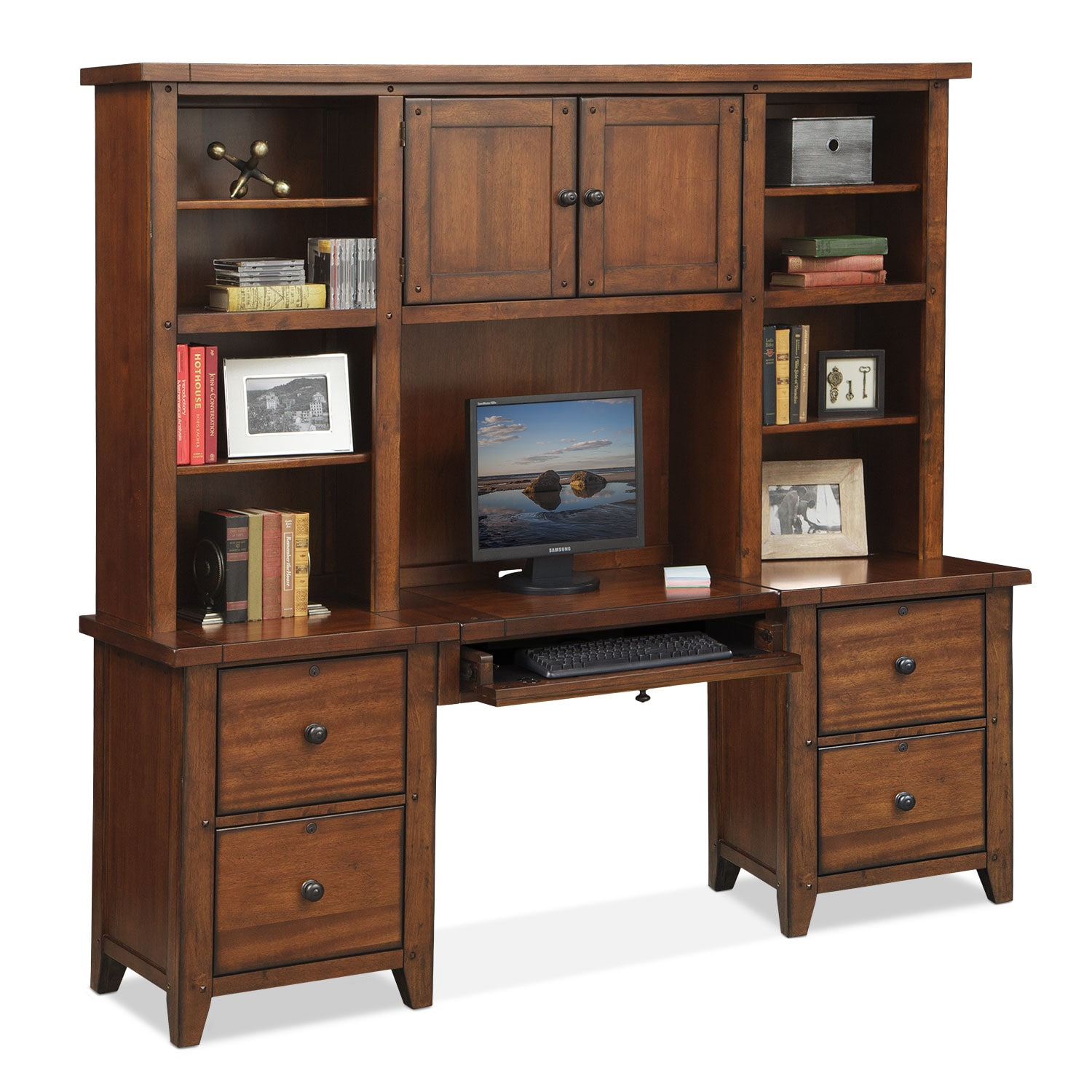Morgan Executive Desk with Hutch - Brown
