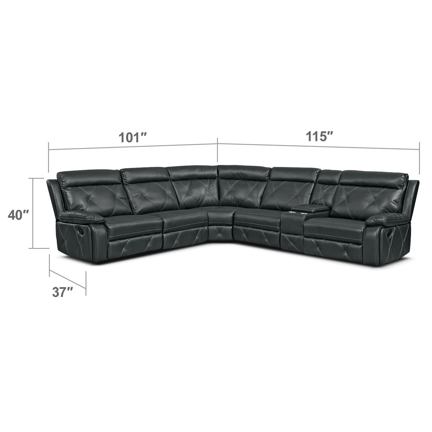 Living Room Furniture - Dante 6-Piece Reclining Sectional with 2 Reclining Seats - Charcoal