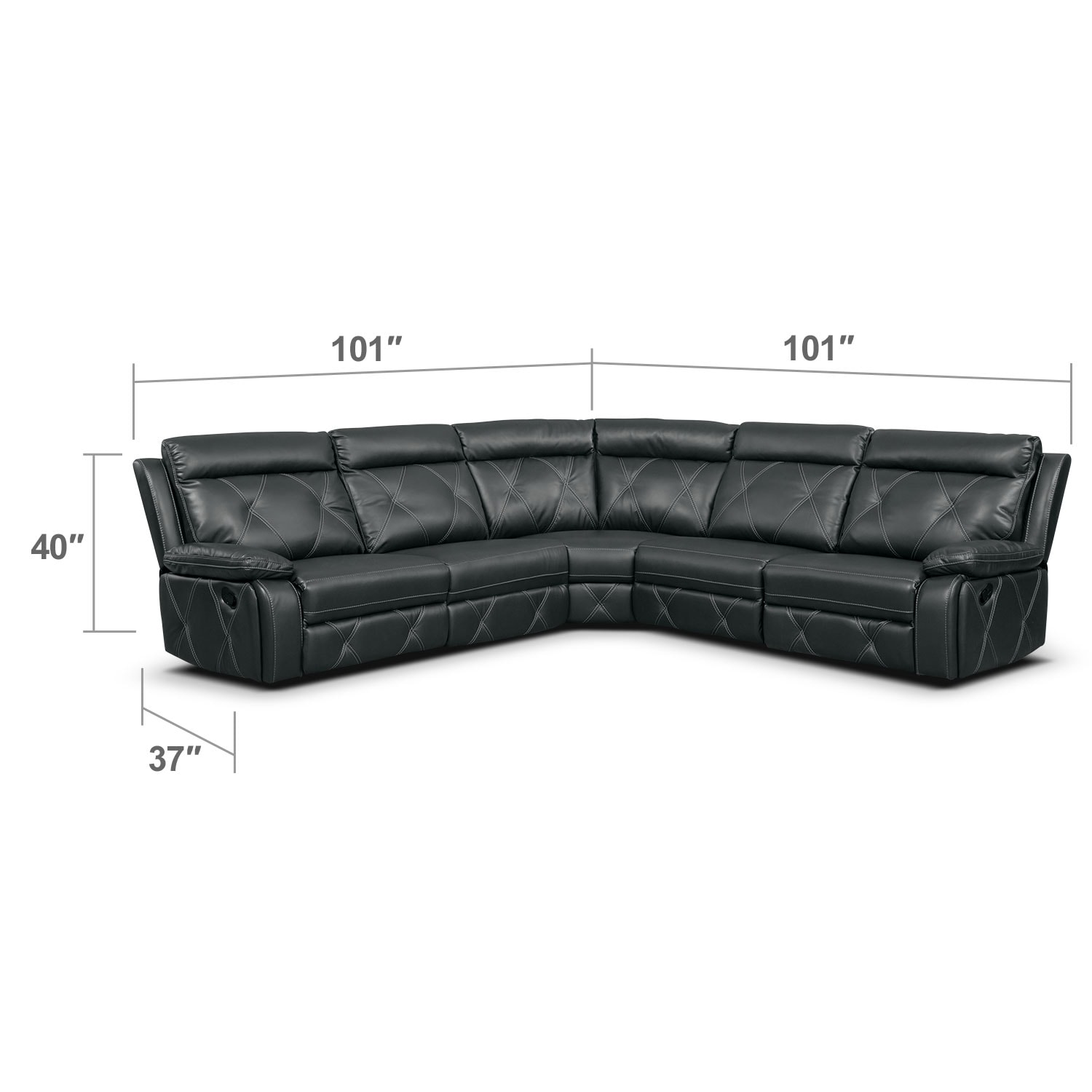 Living Room Furniture - Dante Charcoal 5 Pc. Reclining Sectional w/ 3 Reclining Seats