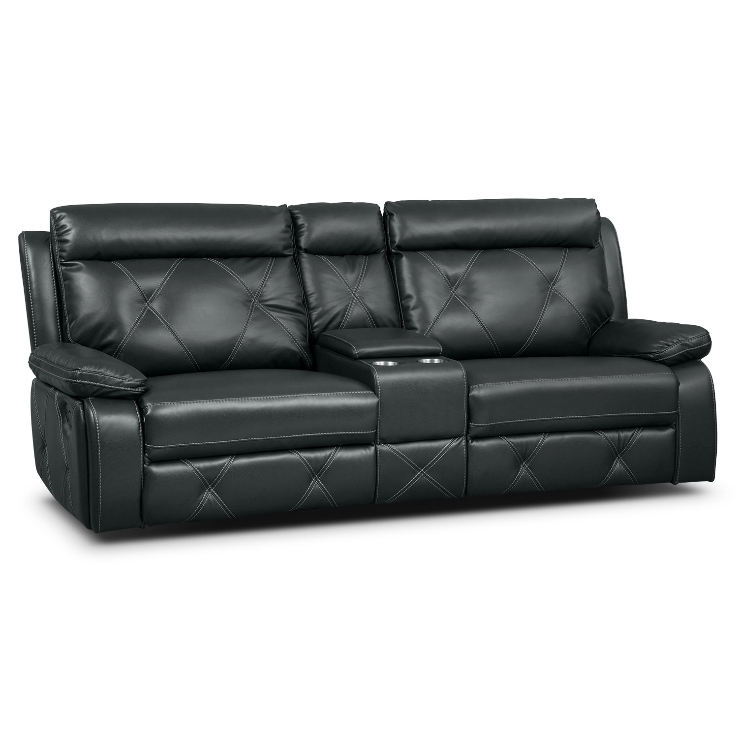 Living Room Furniture - Dante 3-Piece Reclining Sofa with Console - Charcoal