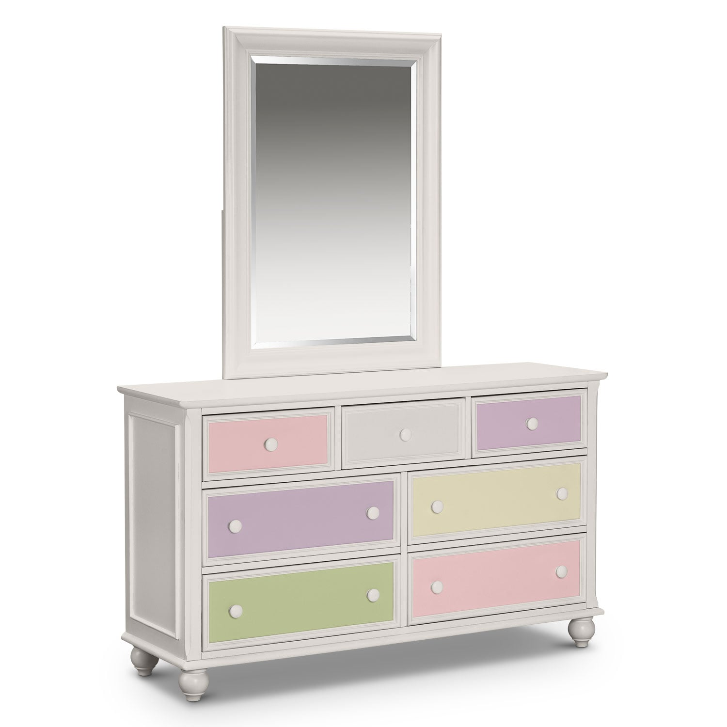 Kids Furniture - Colorworks Dresser and Mirror - White