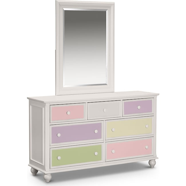 Kids Furniture Colorworks Dresser And Mirror White