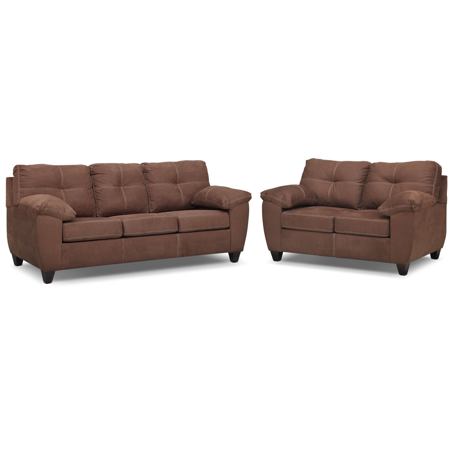 Rialto Sofa and Loveseat Set - Coffee