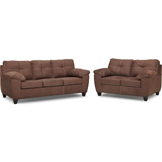 Ricardo Sofa and Loveseat Set - Coffee