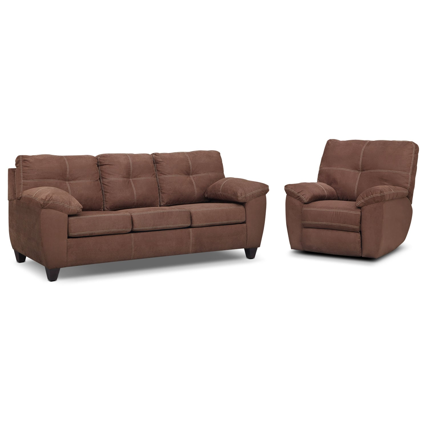 Rialto Sofa and Glider Recliner Set - Coffee