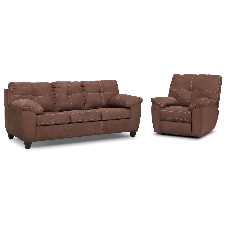 Living Room Furniture - Rialto Coffee 2 Pc. Living Room w/ Glider Recliner