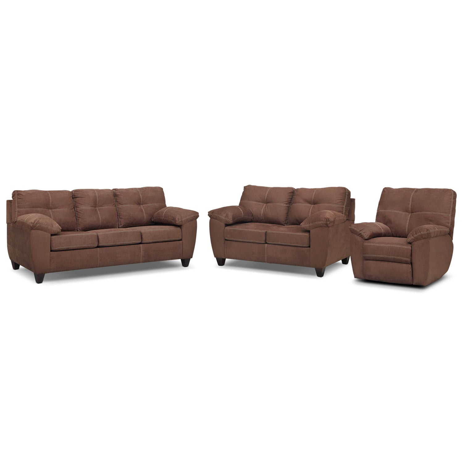 Rialto Sofa, Loveseat and Glider Recliner Set - Coffee
