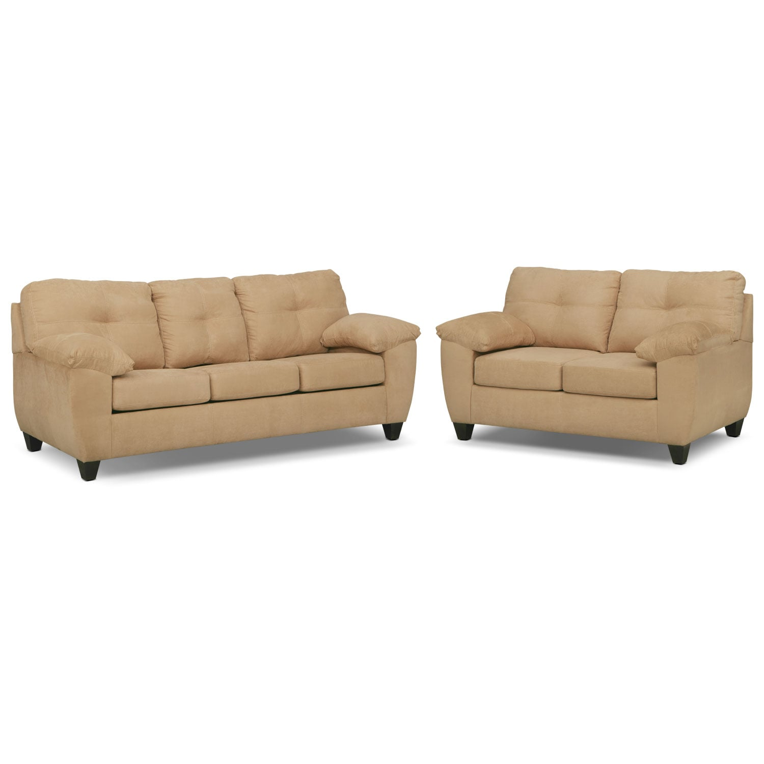 Ricardo Queen Memory Foam Sleeper Sofa And Loveseat Set Camel Value City Furniture And