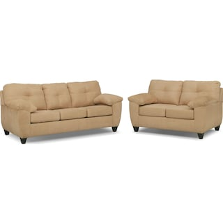 Ricardo Queen Memory Foam Sleeper Sofa and Loveseat Set - Camel