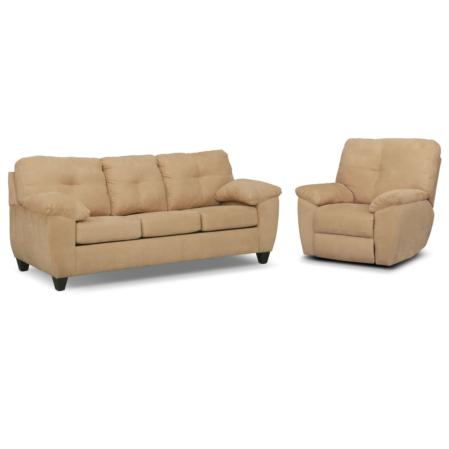 Living Room Furniture - Rialto Memory Foam Sleeper Sofa and Glider Recliner Set - Camel